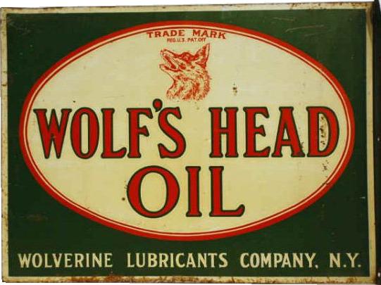 113 Wolfs Head Oil Porcelain Sign 2