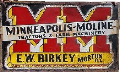 119 Minneapolis Moline Tractors And Farm Equipment Die Cut Porcelain Sign