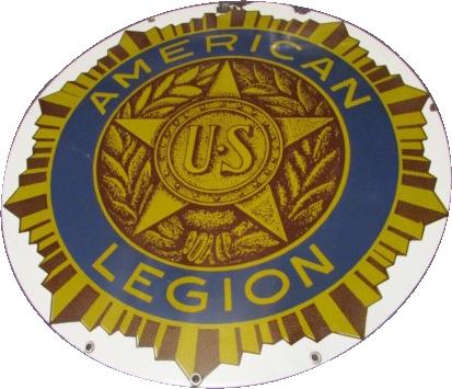 129 American US Legion Round Porcelain Sign