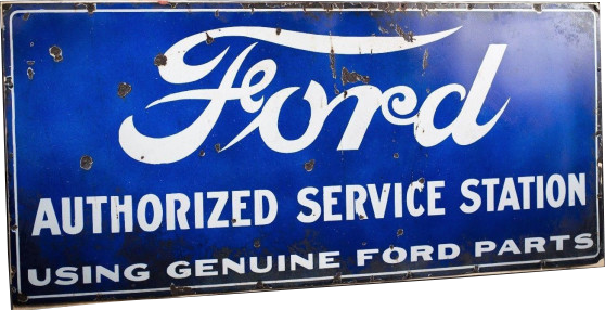 138 Ford Authorized Service Station Long Blue Porcelain Sign