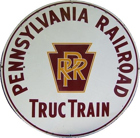 143 Pennsylvania Railroad Truc Train Porcelain Sign 1