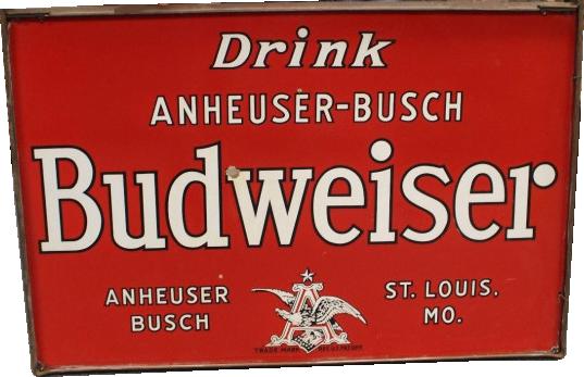 149 Anheuser Busch Drink Budweiser Hanging Porcelain Sign