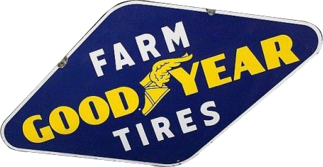 150 Good Year Farm Tires Diamond Blue And Yellow Porcelain Sign