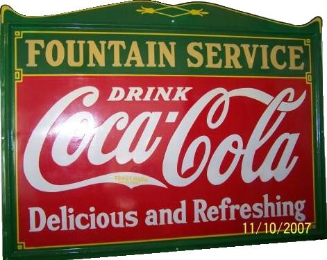 151 Coca Cola Fountain Service Die Cut Porcelain Sign