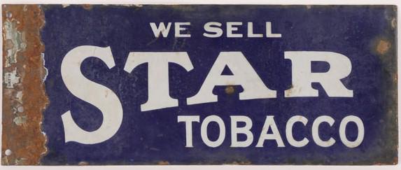 153 Star Tobacco Flange Porcelain Sign