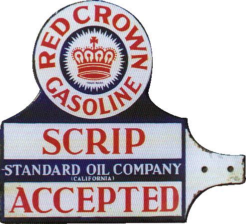 155 Red Crown Gasoline Scrip Accepted Porcelain Sign 2