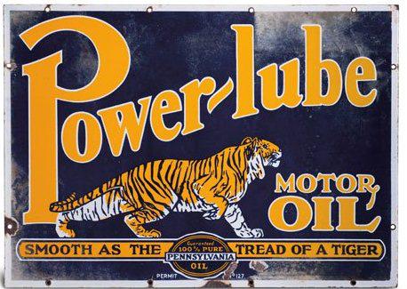 156 Power Lube Motor Oil Porcelain Sign