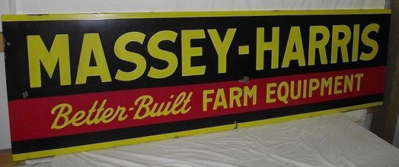 157 Massey Harris Farm Equipment Long Porcelain Sign