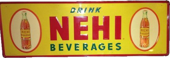 163 Nehi Beverages With Two Bottles Porcelain Sign