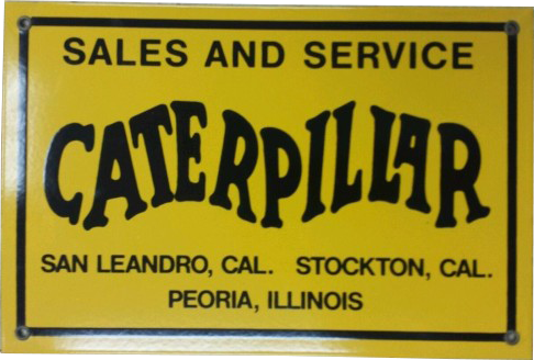 165 Caterpillar Tractor Dealership Round White Porcelain Sign