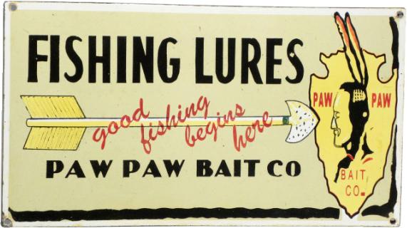 167 Paw Paw Bait Company Porcelain Sign 1