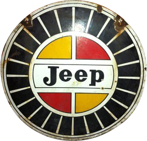 170 Willys Jeep Red And Yellow Round Porcelain Sign