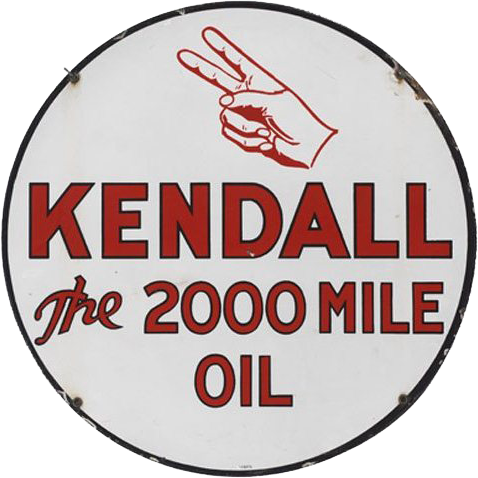 173 Kendall The 2000 Mile Oil Porcelain Sign 1