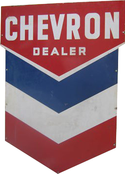 174 Chevron Dealer Blue Red And White Porcelain Sign
