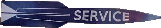 176 Oldsmobile Navy Blue Service Rocket Porcelain Sign