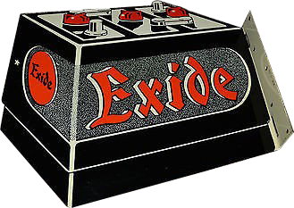 187 Exide Battery Flange Die Cut Porcelain Sign