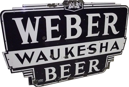 194 Weber Waukesha Beer Black And White Die Cut Neon Porcelain Sign