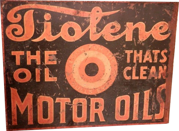 201 Tiolene Motor Oil The Oil That Cleans Porcelain Sign