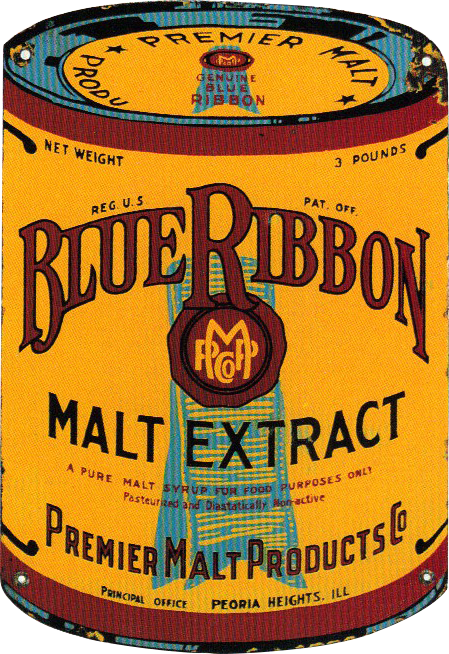205 Blue Ribbon Malt Extract Porcelain Sign 1