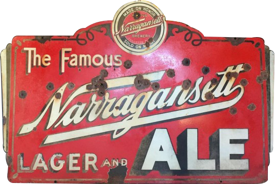 206 The Famous Narragansett Lager And Ale Neon Porcelain Sign
