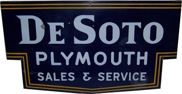 207 DeSoto Plymouth Sales And Service Die Cut Porcelain Sign