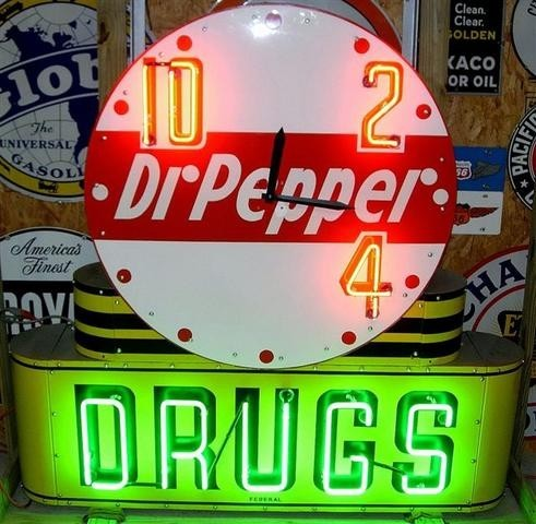 211 Dr Pepper Drugs Neon Clock Porcelain Sign
