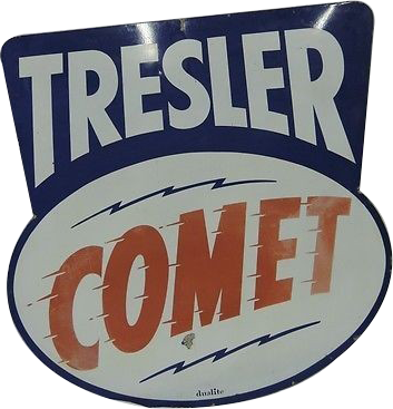 215 Tresler Comet Die Cut Porcelain Sign