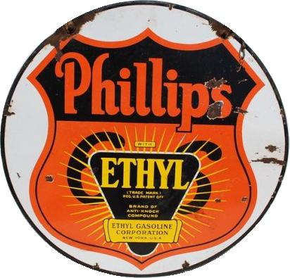 216 Phillips 66 Ethyl Gasoline Porcelain Sign 1