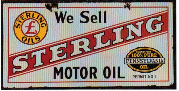 217 Sterling Motor Oil Porcelain Sign