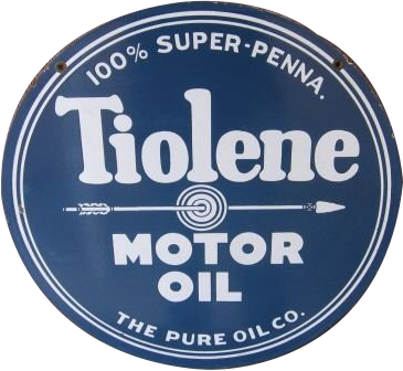 22 Tiolene Motor Oil The Pure Oil Company Round Porcelain Sign