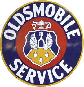 222 Oldsmobile Service Shield Porcelain Sign 1
