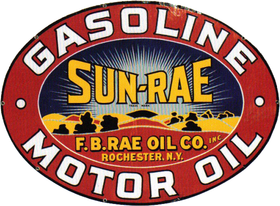 224 Sun Rae Gasoline Porcelain Sign 1
