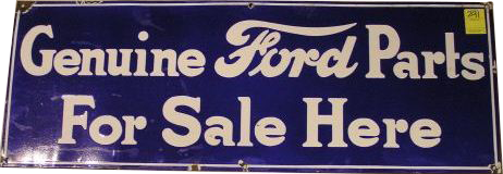 230 Genuine Ford Parts Porcelain Sign 1