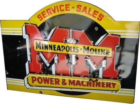 232 Minneapolis Moline Power And Machinery Service And Sales Neon Porcelain Sign