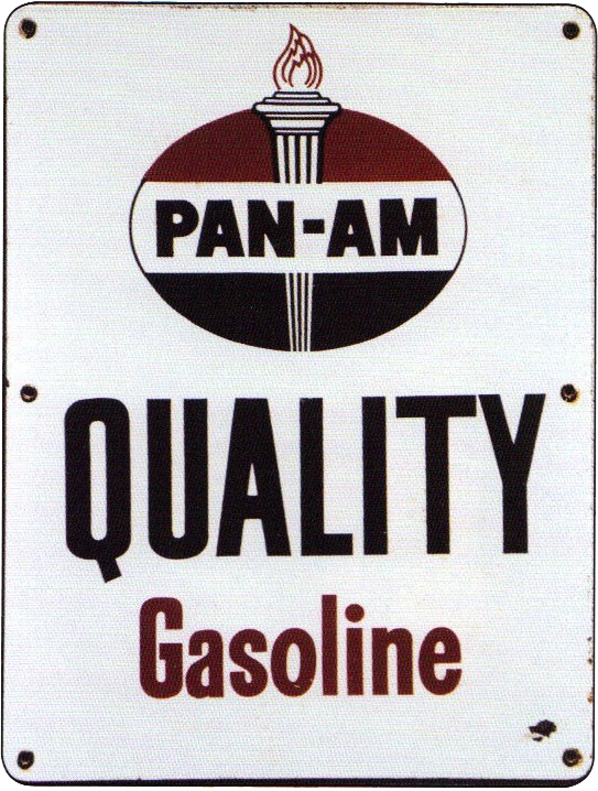 234 Pan Am Quality Gasoline Porcelain Sign 1