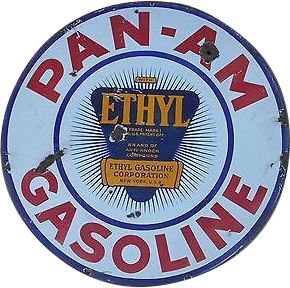 235 Pan Am Gasoline With Ethyl Logo Circular Porcelain Sign