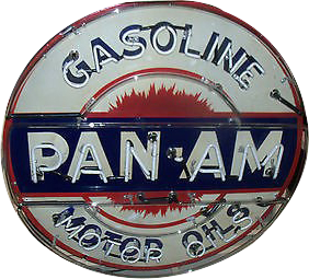 236 Pan Am Gasoline Motor Oils Neon Porcelain Sign