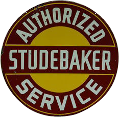 240 Studebaker Authorized Service Red Round Porcelain Sign