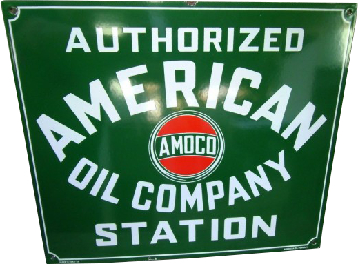 253 American Oil Company AMOCO Red And Green Porcelain Sign