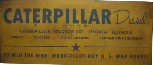 255 Caterpillar Tractor Company Peoria Illinois With Middle Star Porcelain Sign