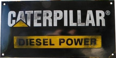 256 Caterpillar Diesel Power Black Porcelain Sign