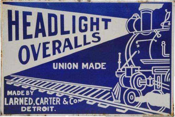 259 Headlight Overalls Porcelain Sign 1