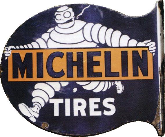 262 Michelin Tires Flange Porcelain Sign 1