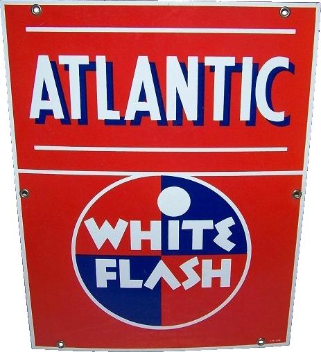 265 Atlantic White Flash Porcelain Sign 1