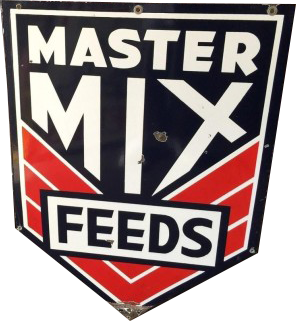 275 Master Mix Feeds Triangular Shield Porcelain Sign 1