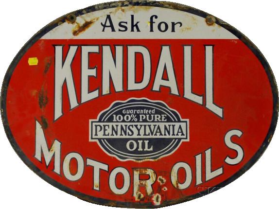 276 Kendall Motor Oil Oval Porcelain Sign 1