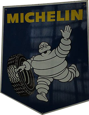 277 Michelin Man Running With Tires Porcelain Sign