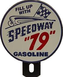 280 Speedway 79 Gasoline License Plate Topper Porcelain Sign