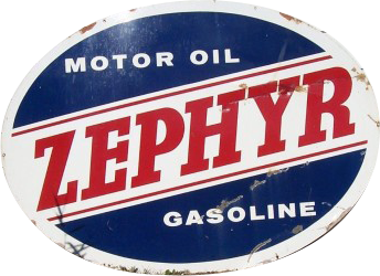 292 Zephyr Gasoline Motor Oil Oval Porcelain Sign