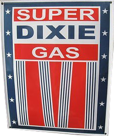 295 Super Dixie Gas Red White And Blue Stars Porcelain Sign